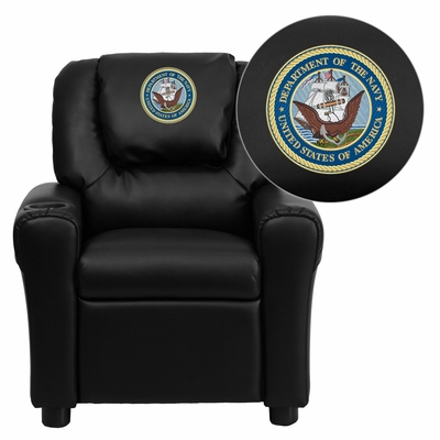 America's Navy Embroidered Black Vinyl Kids Recliner - DG-ULT-KID-BK-MIL-NV001-EMB-GG