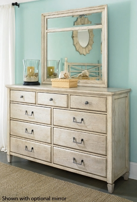 American Drew Americana Home 9 Drawer Dresser - Weathered White - 114-130W