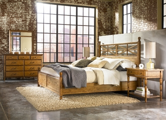 American Drew Americana Home King 5PC Bedroom Set - Warm Khaki Oak - 114-326R