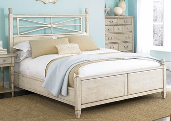 American Drew Americana Home Low Poster Queen Bed - Weathered White - 114-323WR