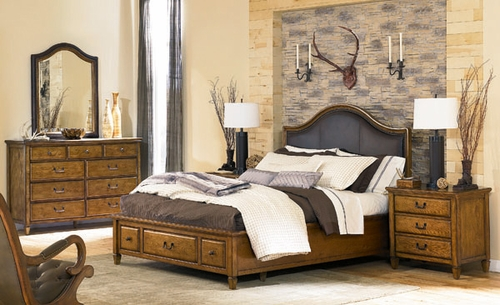 American Drew Americana Home Queen Leather Bed 5PC Bedroom Set - 114-353R