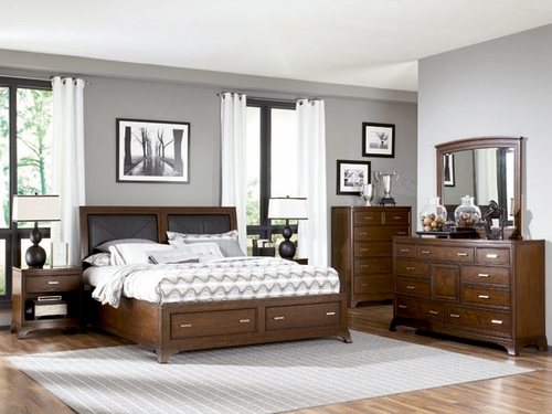 American Drew Essex 6PC Queen Leather Bed Bedroom Set - 104-325R