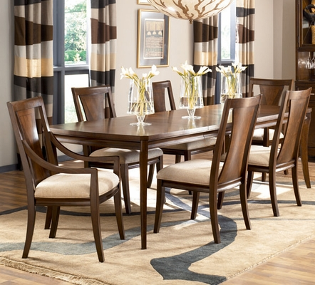 American Drew Essex Dining Table with 6 Chairs in Mink - 104-760