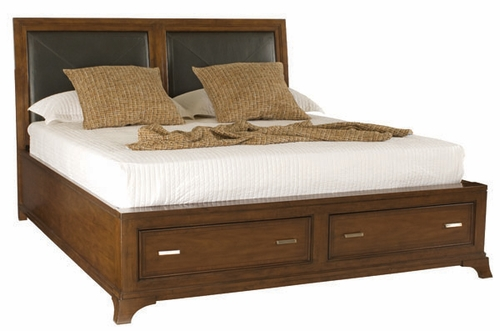 American Drew Essex Queen Leather Bed with Storage Footboard - 104-325R