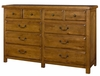 American Drew New River 10 Drawer Dresser in Amber - 204-131