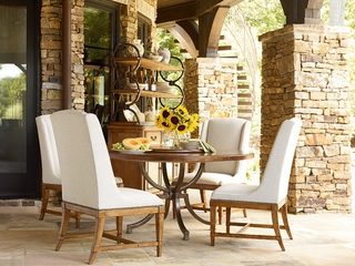 American Drew New River 5PC Round Dining Table Set with 4 Fabric Chairs - 204-702R