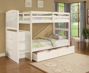 "Angelica ""White"" Arch Spindle Chest End Step Twin/Twin Bunk Bed with Drawer Unit - Powell Furniture - 929-BBED-2"