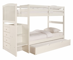 "Angelica ""White"" Arch Spindle Chest End Step Twin/Twin Bunk Bed with Trundle - Powell Furniture - 929-BBED-3"