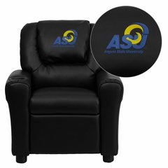 Angelo State University Rams Black Vinyl Kids Recliner - DG-ULT-KID-BK-41003-EMB-GG