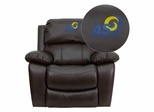 Angelo State University Rams Leather Rocker Recliner - MEN-DA3439-91-BRN-41003-EMB-GG