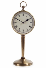 Antique Brass Pedestal Clock - IMAX - 7869