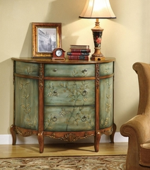 Antique Demilune Accent Cabinet with Floral Detailing - 950115