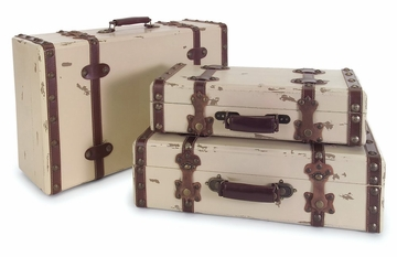 Antique Ivory Suitcases (Set of 3) - IMAX - 6013-3