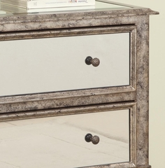 """Antique Silver"" and ""Black Crackle"" 2-Drawer Mirrored Console - Powell Furniture - 709-331"