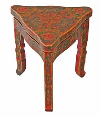 Antique Style End / Accent Table with Floral Motif in Red - frc1029
