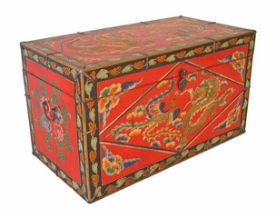 Antique Style Storage Trunk / Chest with Mythic Motif in Red - frc1031