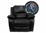 Arkansas Fort Smith Lions Leather Rocker Recliner - MEN-DA3439-91-BK-41080-EMB-GG