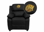 Arkansas Pine Bluff Golden Lions Embroidered Black Leather Kids Recliner - BT-7985-KID-BK-LEA-41081-EMB-GG