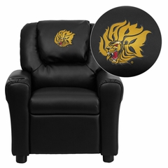 Arkansas Pine Bluff Golden Lions Embroidered Black Vinyl Kids Recliner - DG-ULT-KID-BK-41081-EMB-GG