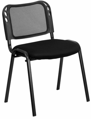 Armless Mesh Screen Back Stack Chair, Padded Mesh Seat - EU-65-BK-GG
