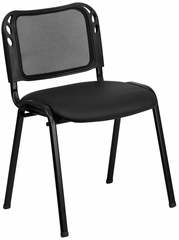 Armless Mesh Screen Back Stack Chair, Padded Vinyl Seat - EU-65-BK-VYL-GG