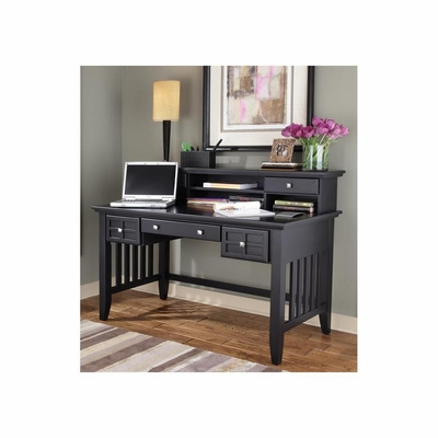 Arts and Crafts Black Executive Desk with Hutch 2 Storage Drawers - Home Styles - HS-5181-152