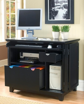 Arts and Crafts Compact Computer Cabinet in Black - Home Styles - 5181-19