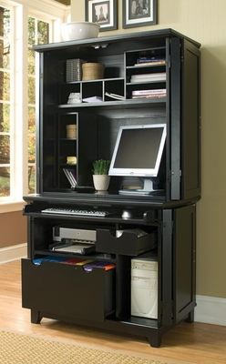 Arts and Crafts Compact Computer Cabinet with Hutch in Black - Home Styles - 5181-190