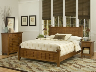 Arts and Crafts Queen Size Bed, Night Stand, and Drawer Chest in Cottage Oak - Home Styles - 5180-5018