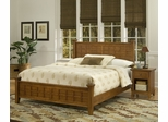 Arts and Crafts Queen Size Bed with Night Stand in Cottage Oak - Home Styles - 5180-5017