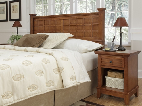 Arts and Crafts Queen Size Headboard and Night Stand in Cottage Oak - Home Styles - 5180-5015