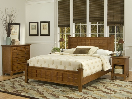 Arts and Crafts Queen Size Headboard, Night Stand, and Drawer Chest in Cottage Oak - Home Styles - 5180-5016