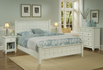 Arts and Crafts Queen Size Headboard, Night Stand, and Drawer Chest in White - Home Styles - 5182-5016