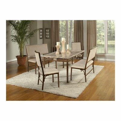 Asbury 5 Pc Dining Set - Table, 2 Chairs and 2 Benches - Largo - LARGO-ST-D192-5PC-SET
