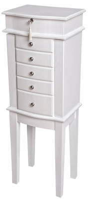 Aspen Wooden Jewelry Armoire in White - Mele