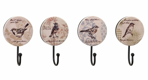 Assorted Bird Wall Hooks (Set of 4) - IMAX - 27442-4