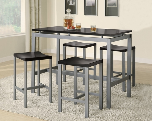 Atlas 5-Piece Dining Set in Black / Matte Silver - Coaster - 150095