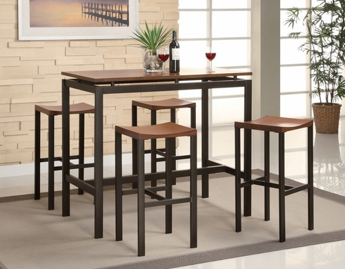 Atlas 5-Piece Dining Set in Light Oak / Matte Black and Gold - Coaster - 150097