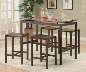 Atlas 5-Piece Dining Set in Matte Brown - Coaster - 150096
