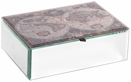 Atlas Mirrored Glass Antique Map Jewelry Box - 00167F12