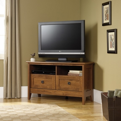 August Hill Corner Entertainment Stand Oiled Oak - Sauder Furniture - 410627