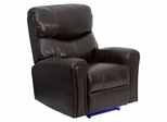 Automatic Massaging Brown Leather Recliner with Lighted Base - BT-7865-AUTO-BN-GG