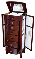 Avalon Wooden Jewelry Armoire in Cherry - Mele