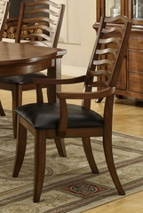 Avery Wavy Slat Back Arm Chair with Vinyl Seat - Set of 2 - 103543