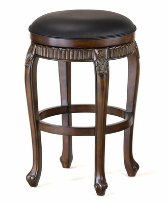 Backless Fleur de Lis Wood Swivel Counter Stool - 24