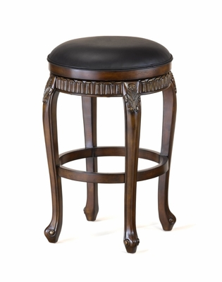 Backless Fleur de Lis Wood Swivel Counter Stool - 30