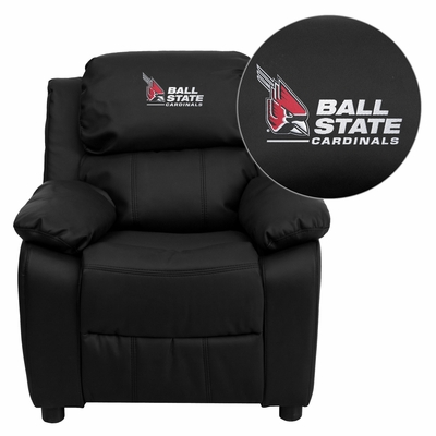 Ball State University Cardinals Black Leather Kids Recliner- BT-7985-KID-BK-LEA-45001-EMB-GG