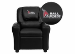 Ball State University Cardinals Embroidered Black Vinyl Kids Recliner - DG-ULT-KID-BK-45001-EMB-GG