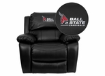 Ball State University Cardinals Embroidered Leather Rocker Recliner - MEN-DA3439-91-BK-45001-EMB-GG