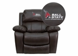 Ball State University Cardinals Embroidered Leather Rocker Recliner - MEN-DA3439-91-BRN-45001-EMB-GG
